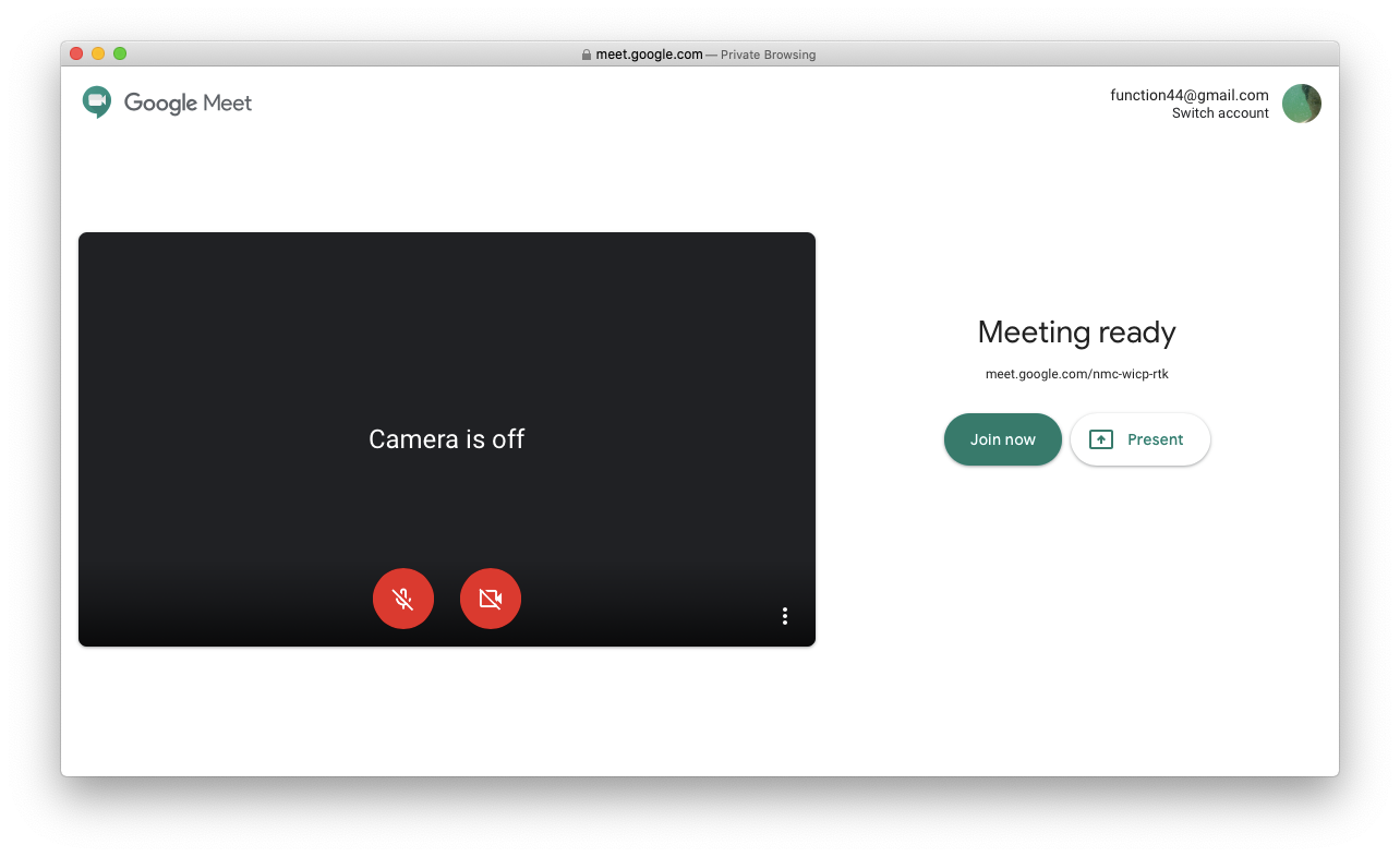 Google Meet browser meeting