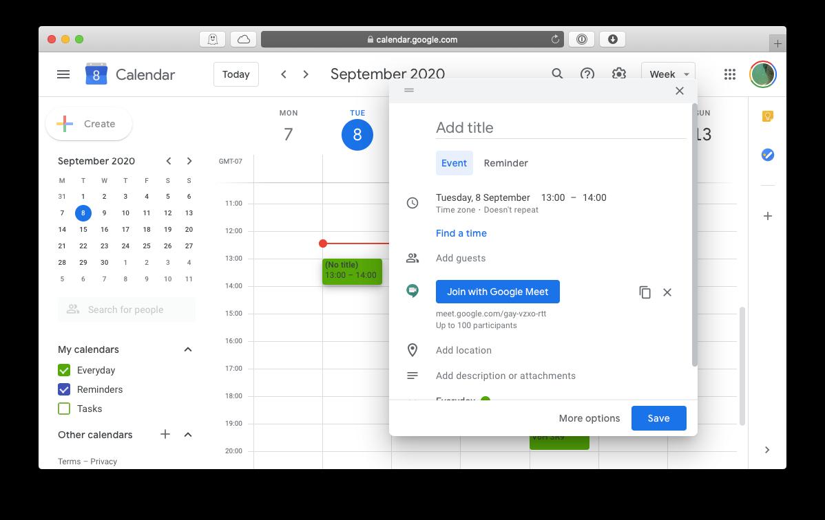 Google Meet calendar invite Mac