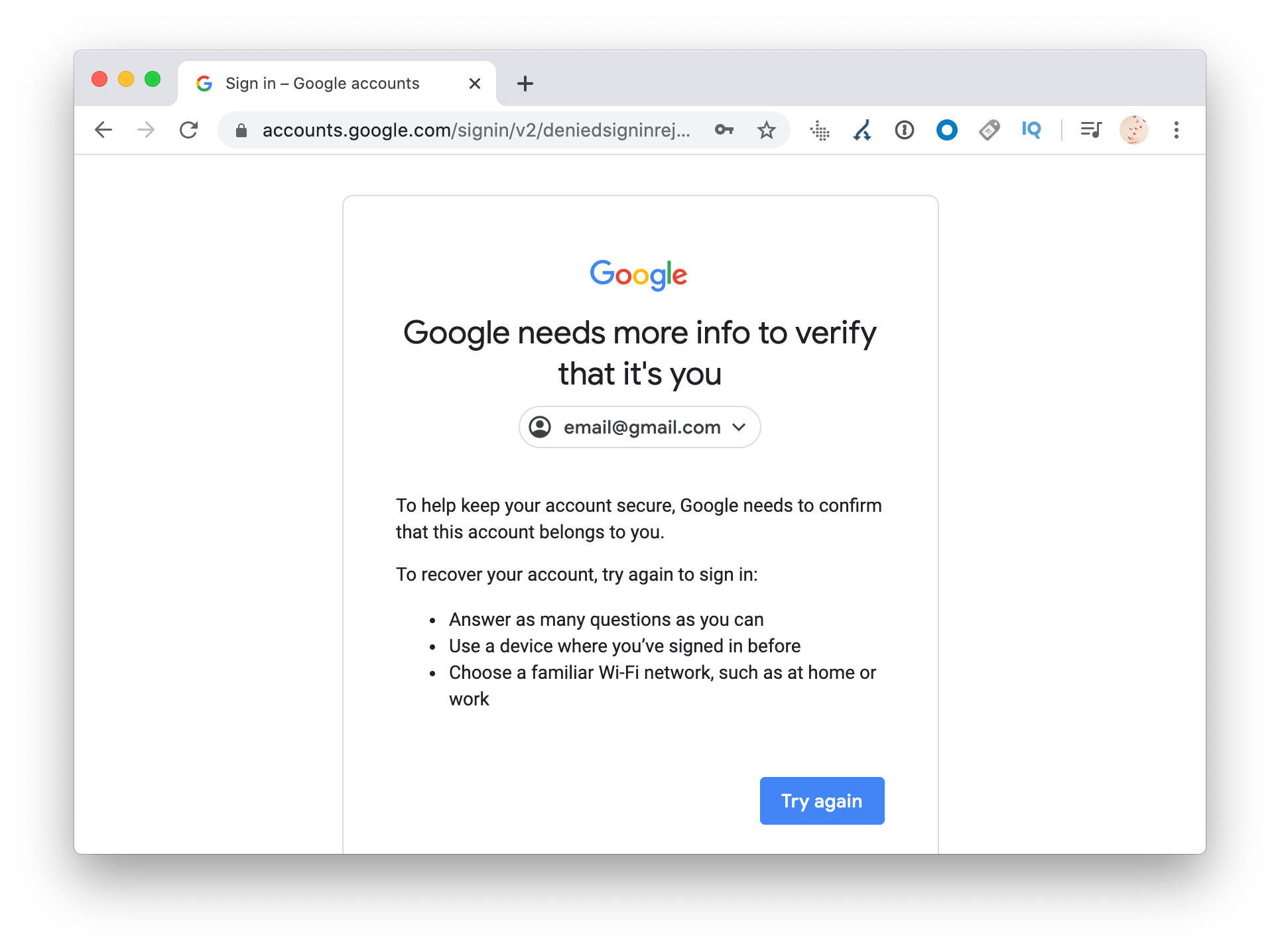 Google needs more info to verify that it's you