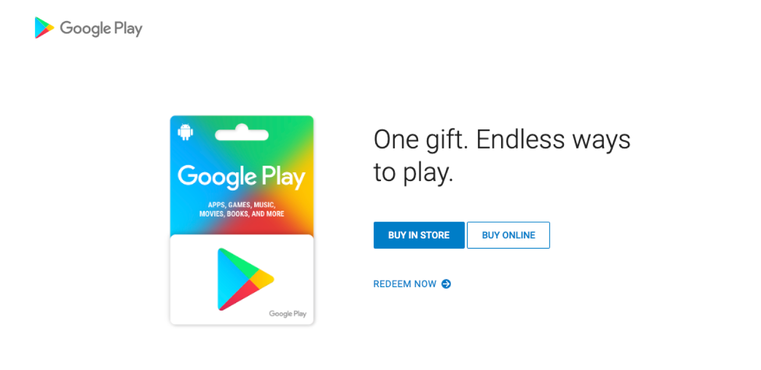 Google Play card as a gift