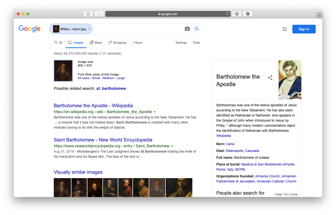Google reversed image search