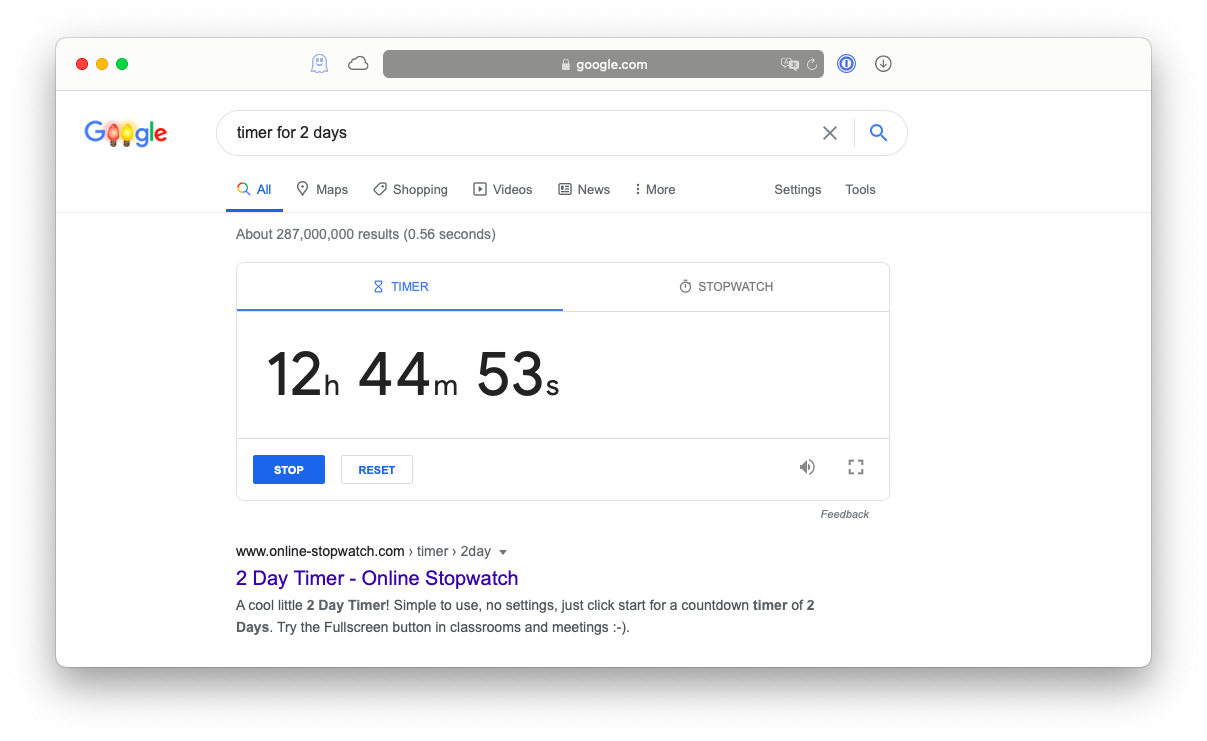 Google countdown