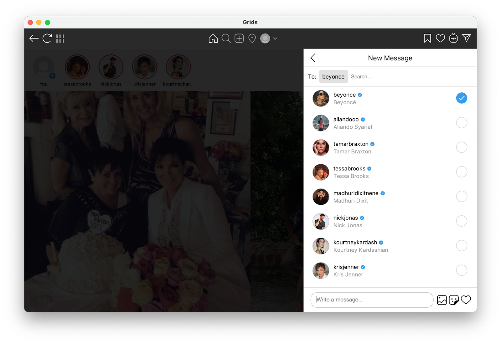 Send direct messages to Instagram from Mac