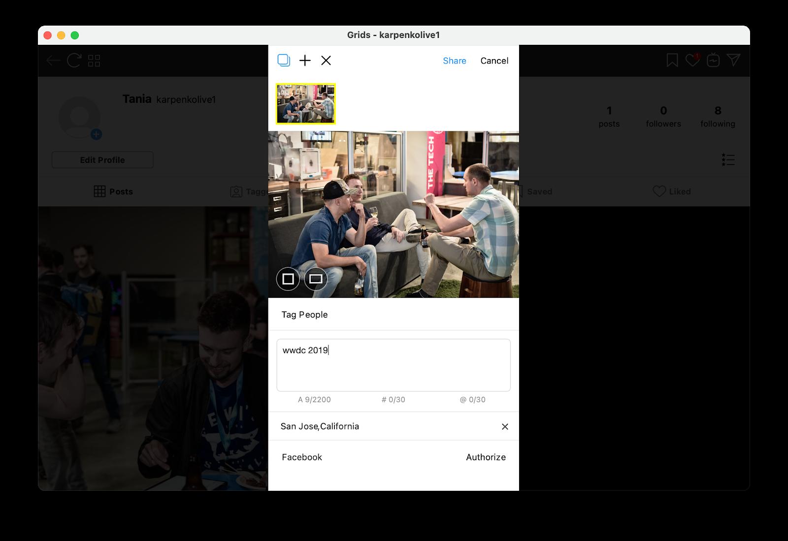 Upload to Instagram from Mac desktop
