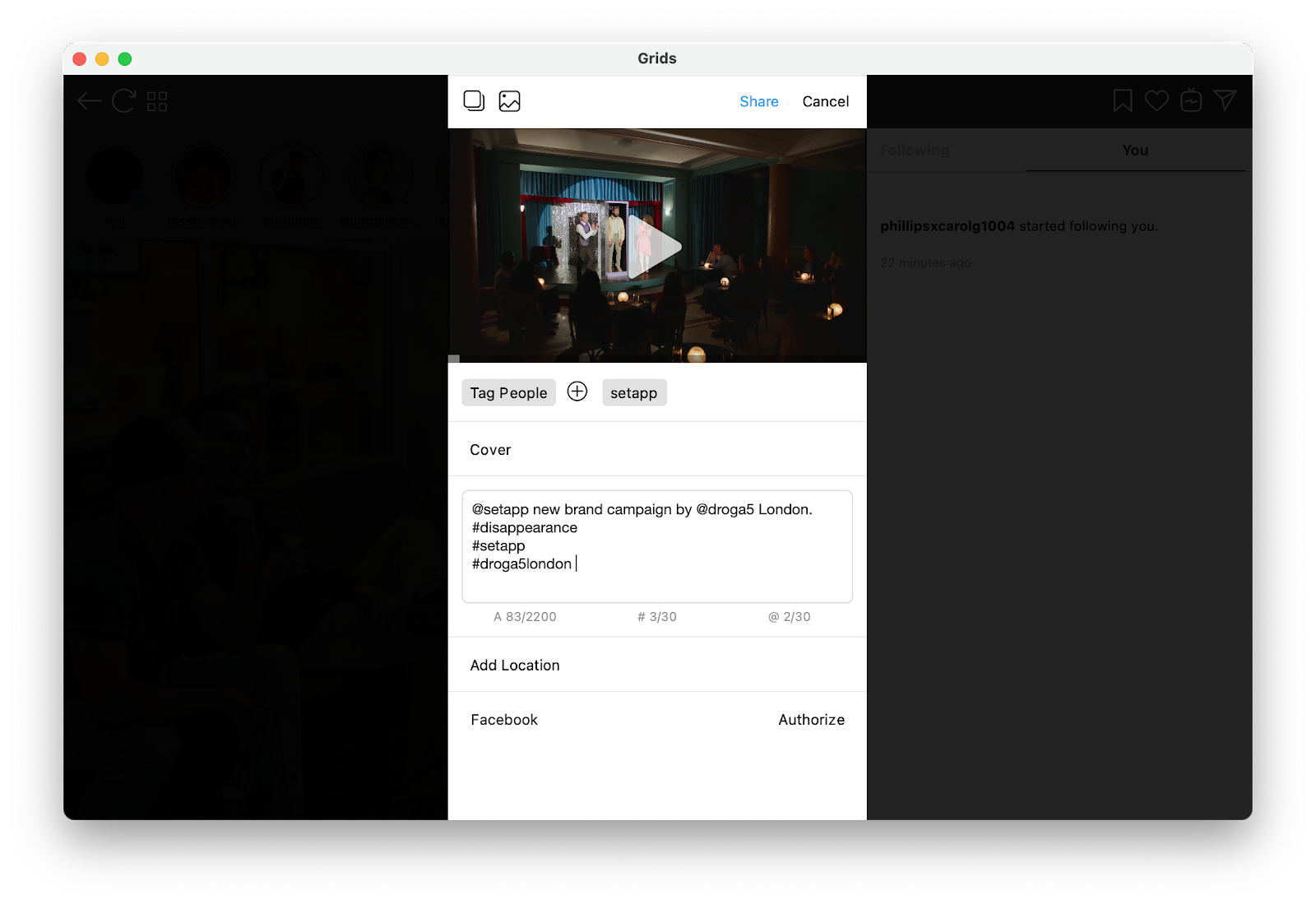 Post video to Instagram from Mac