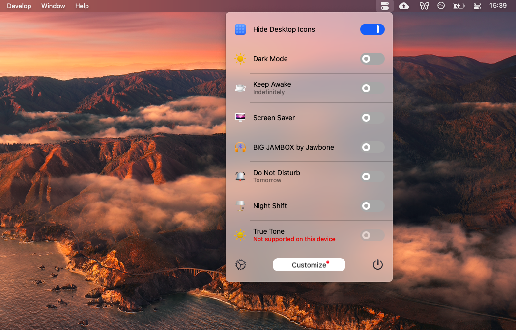 Hide desktop icons with One Switch app