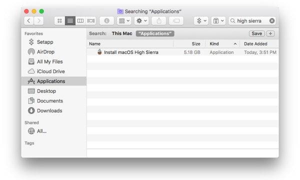 Find High Sierra installer in Application folder