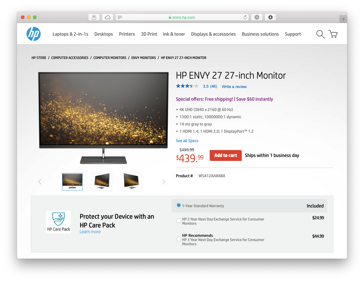 HP Envy 27-inch monitor Mac