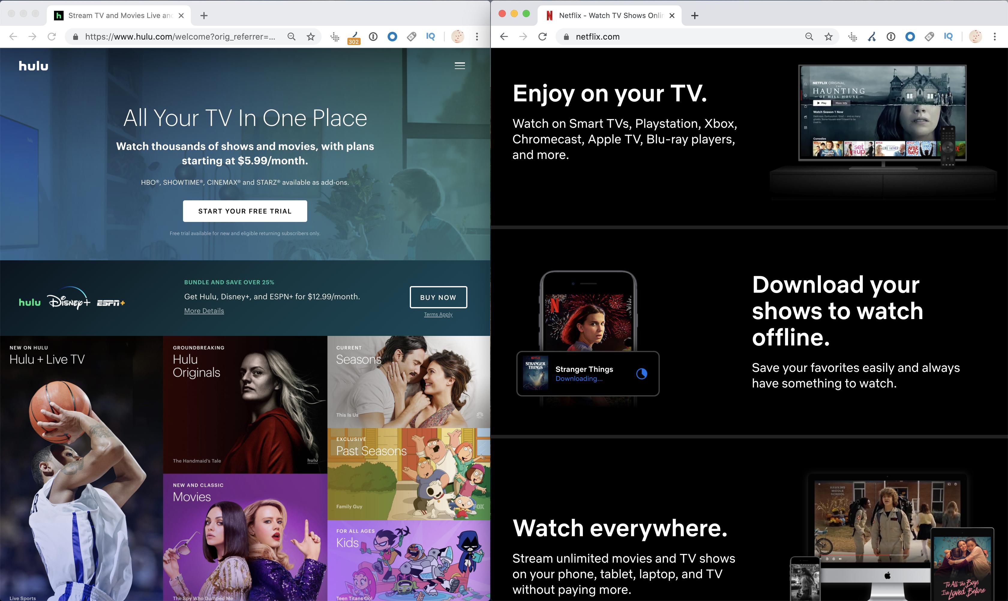 Hulu VS Netflix content