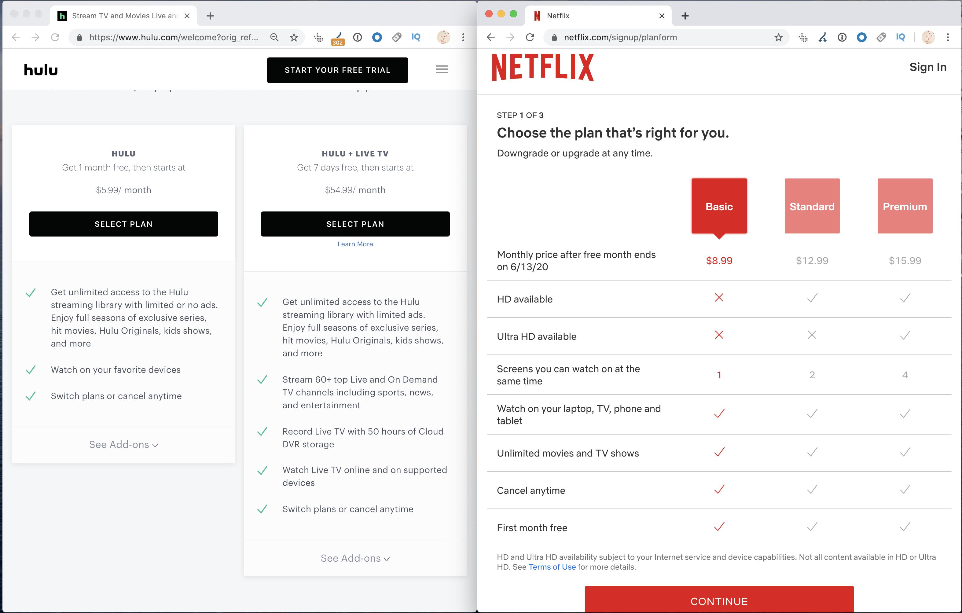 Hulu VS Netflix pricing plans