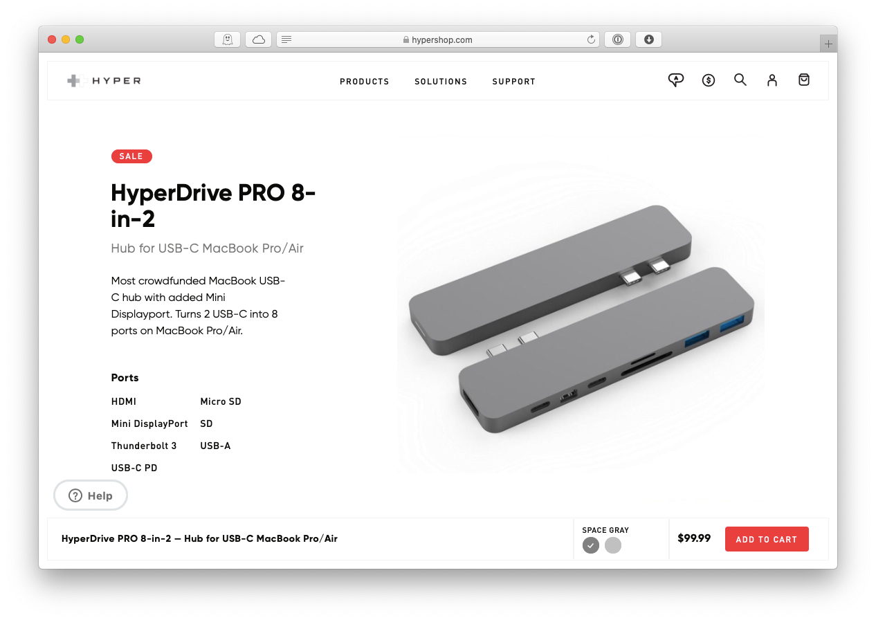 HyperDrive 8-in-2 USB-C hub Mac