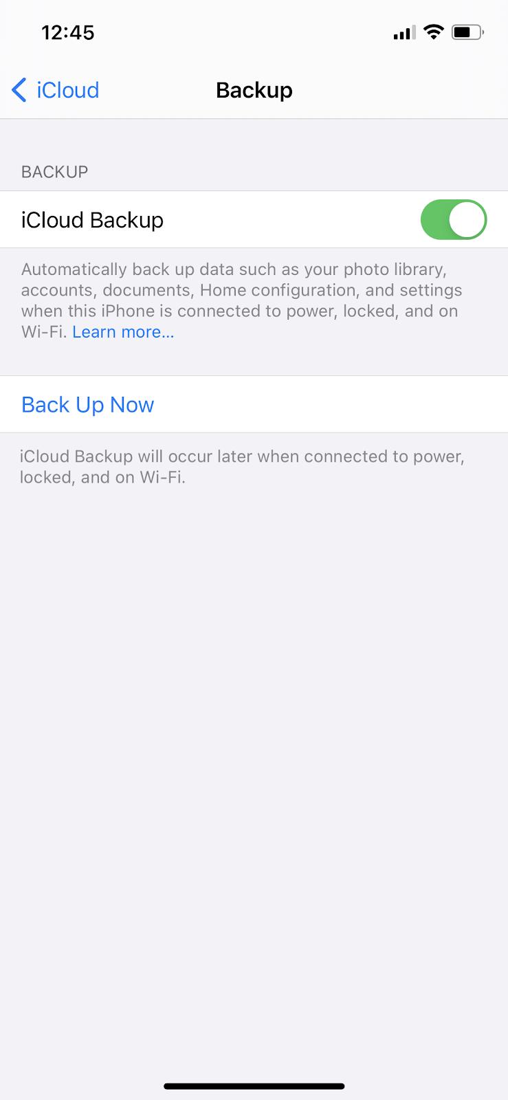 icloud backup iphone