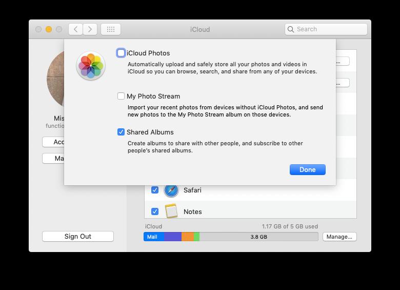 iCloud photos options mac