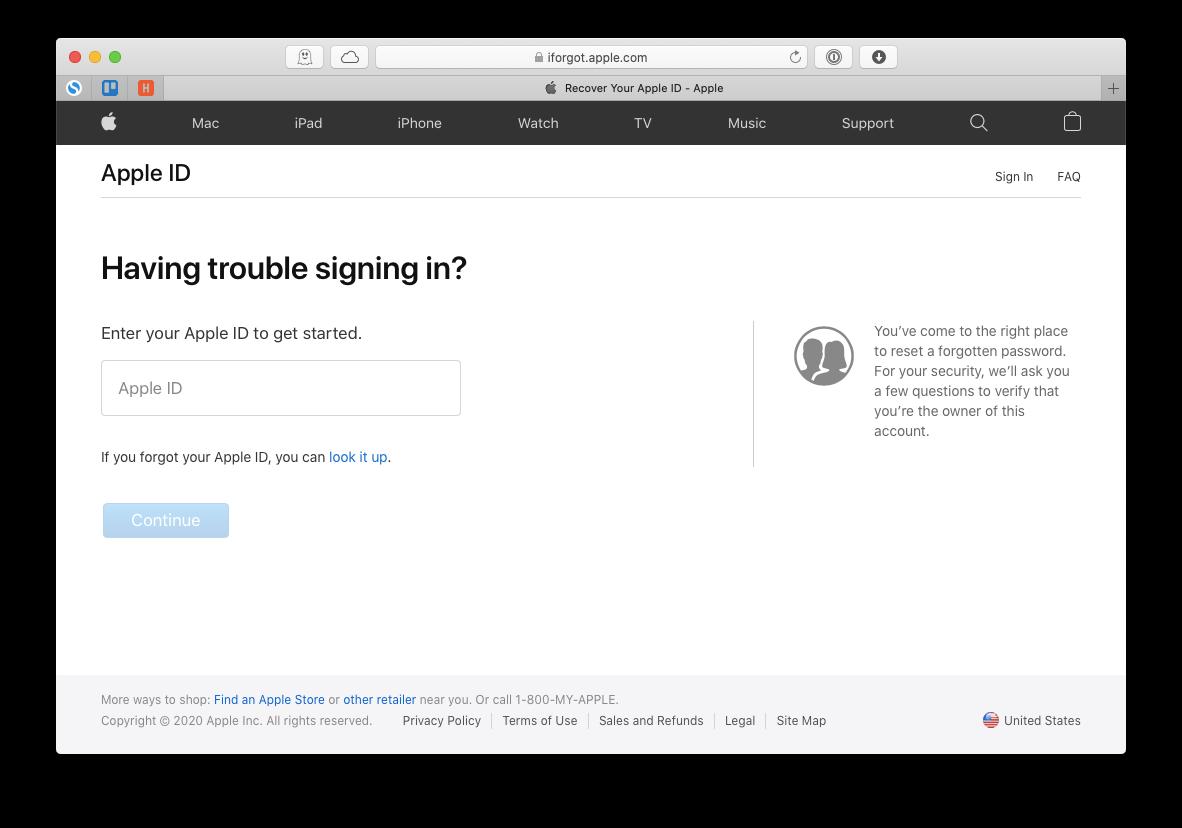 iForgot Apple password reset Mac