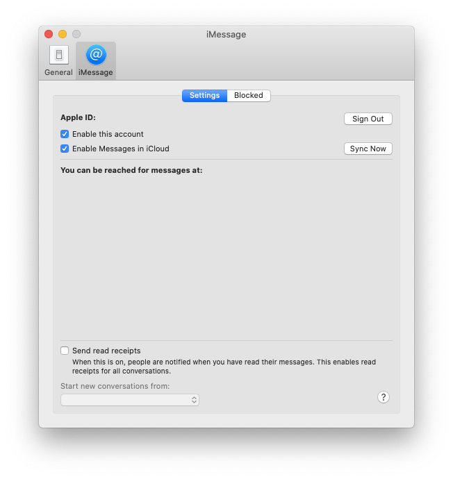 iMessage sign out Mac account