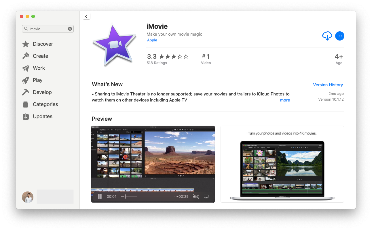 iMovie app store download