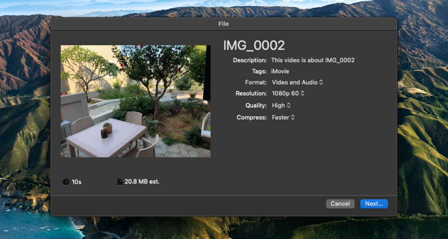 compress a video with iMovie