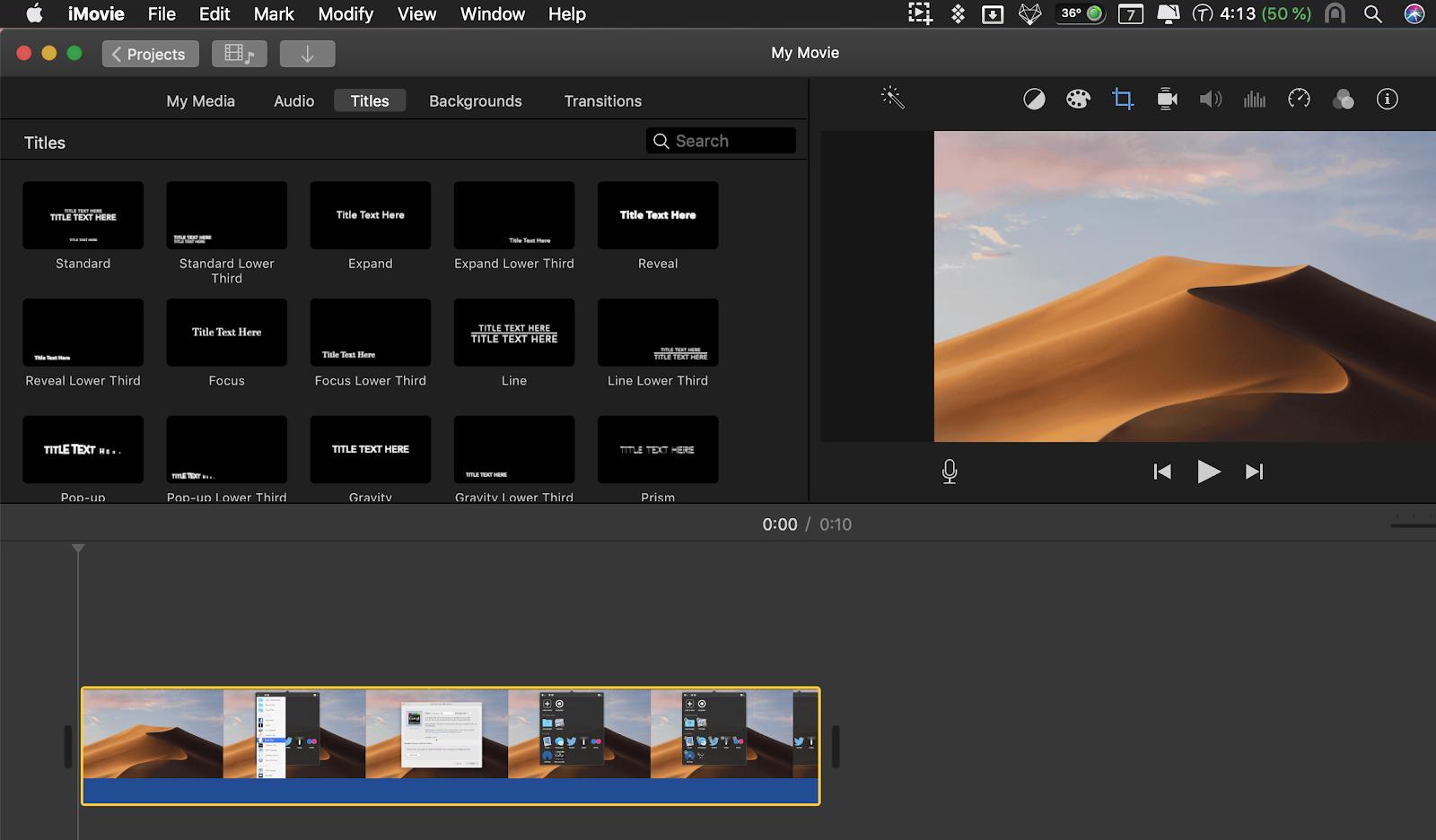 iMovie editing screenshot