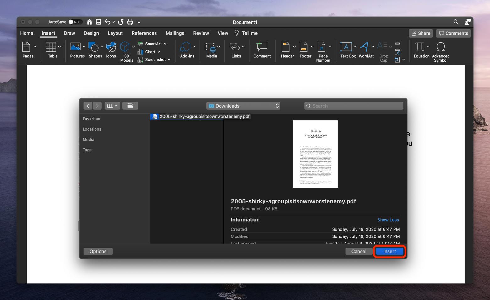 insert PDF Word