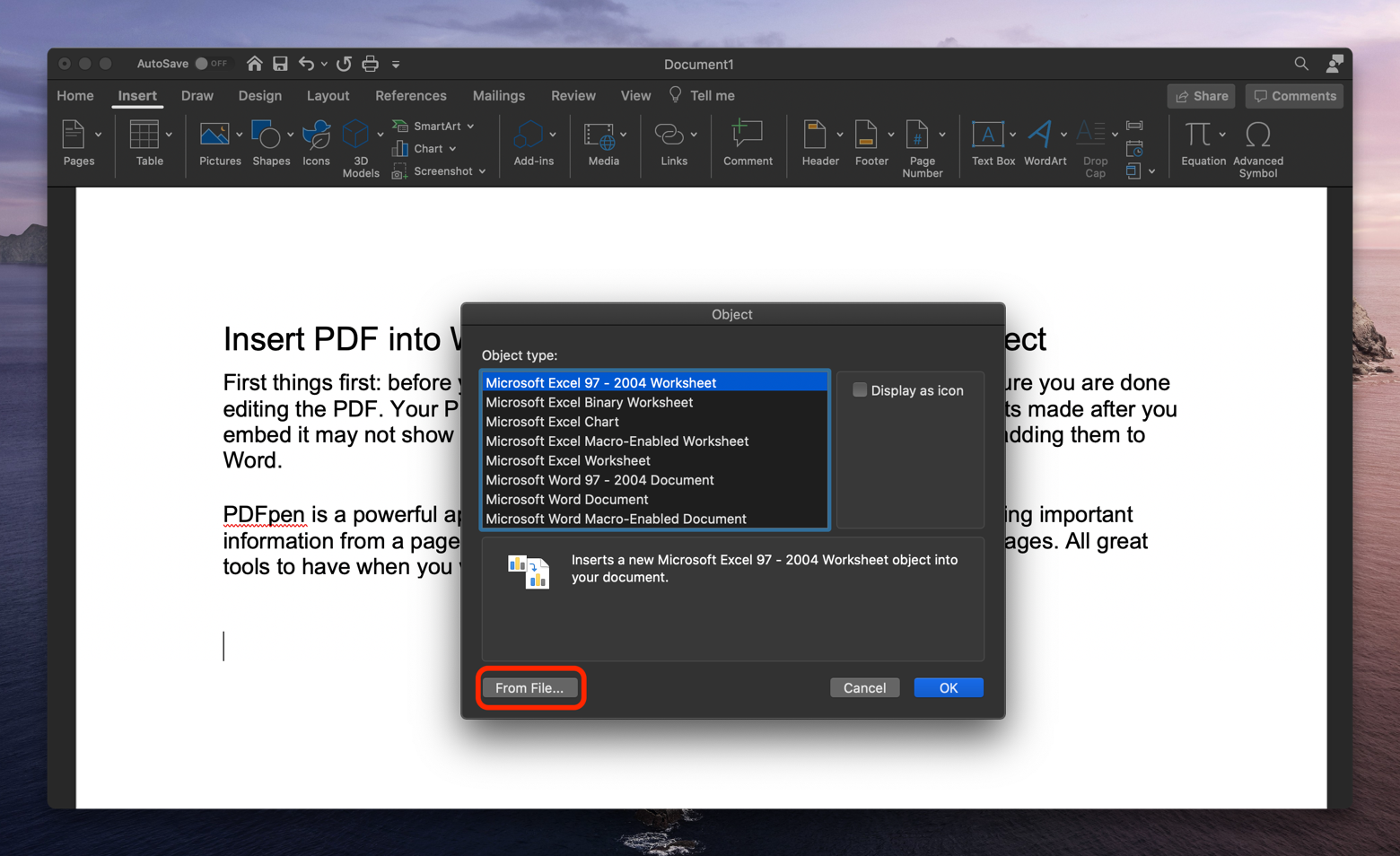 insert PDF Word from file