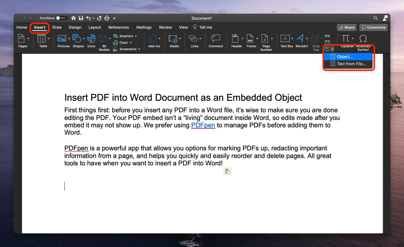 insert PDF Word as Object
