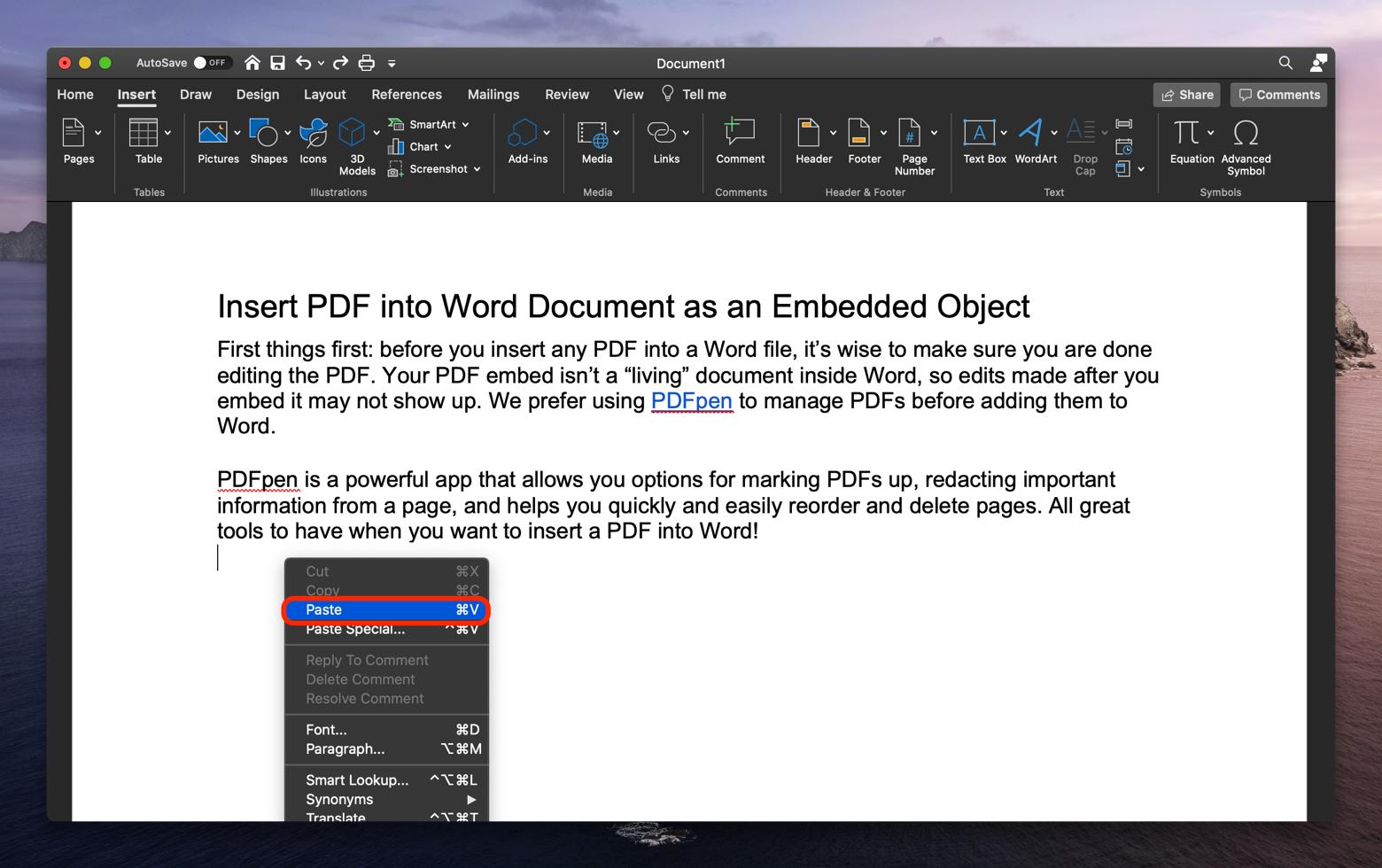 select Paste when copy PDF into Word