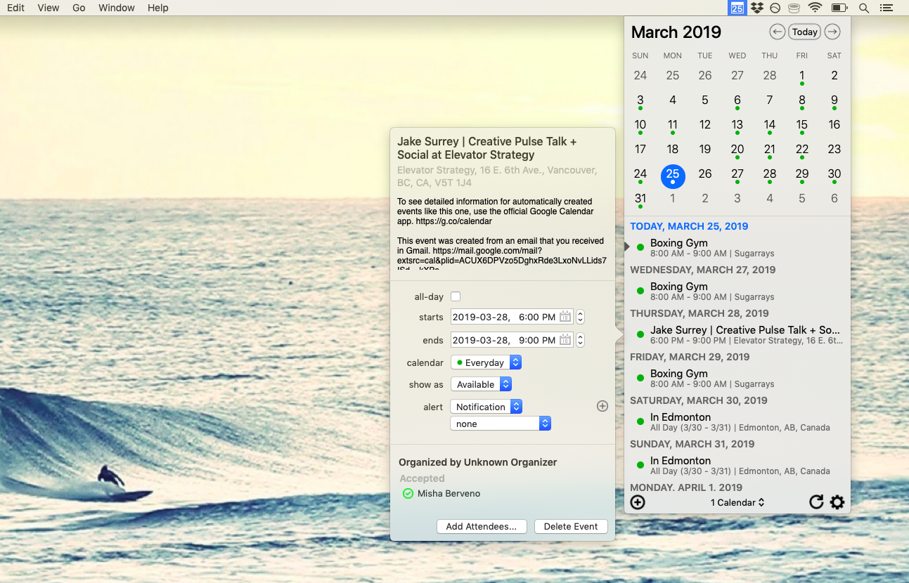 Instacal menu bar calendar app
