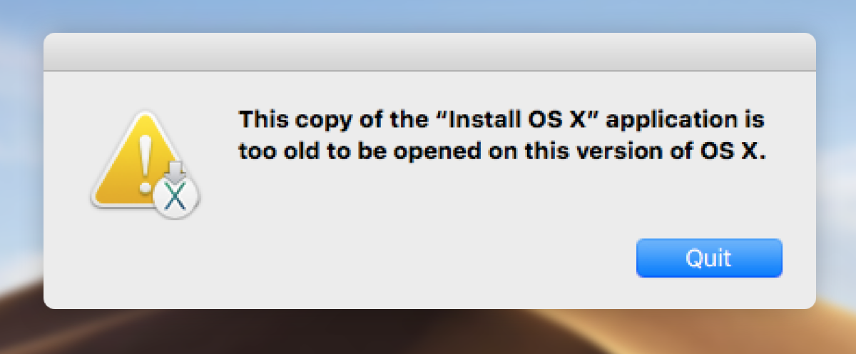 can't download an old version of Mac