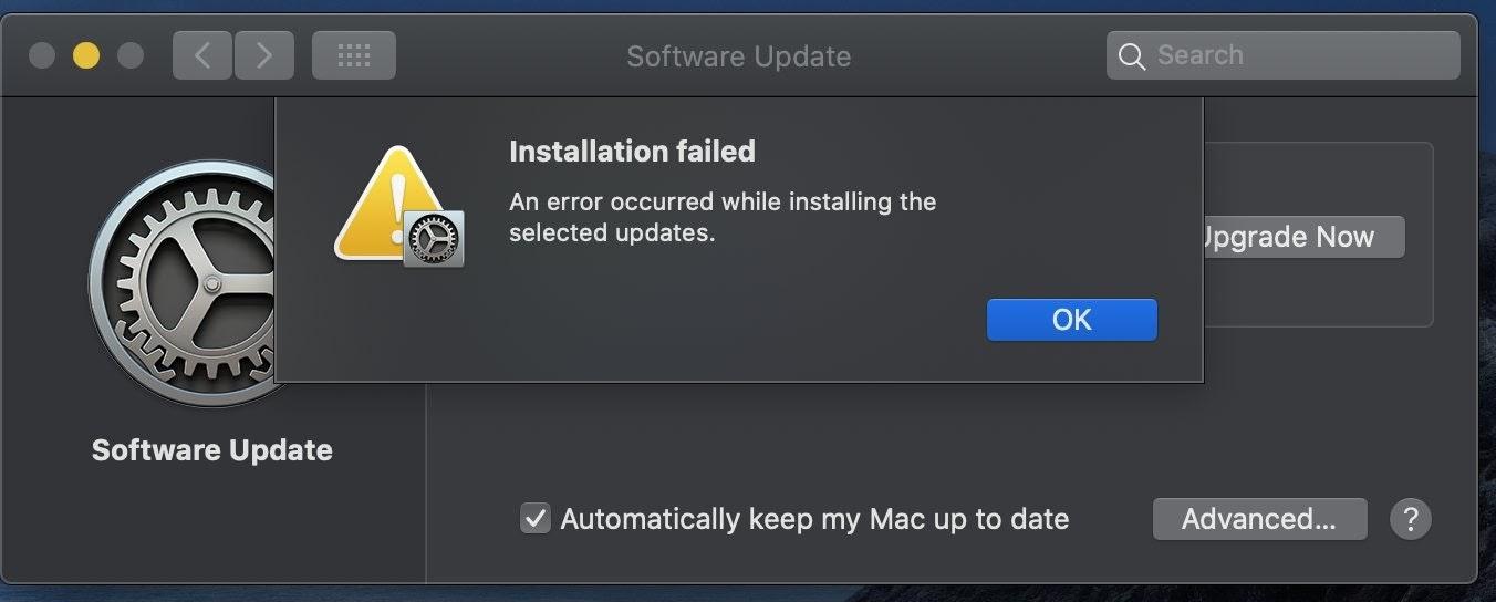 installation failed macOS Big Sur