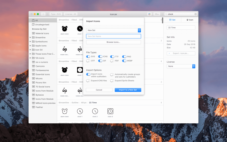 Add icons set to IconJar