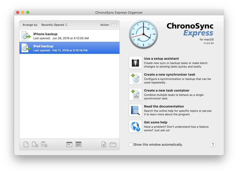 iPad backup file sync ChronoSync Express
