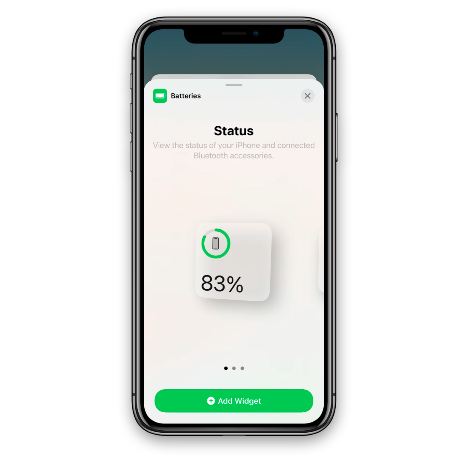 adding battery widget on Iphone