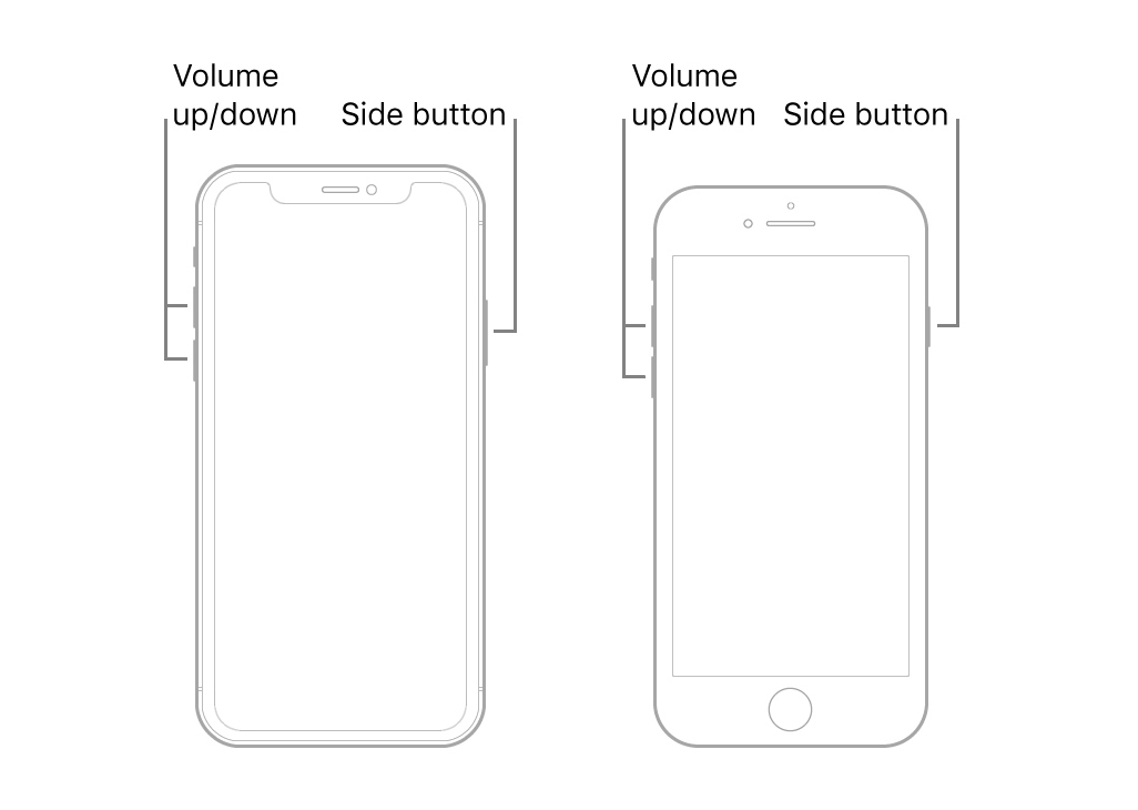 iPhone reset buttons
