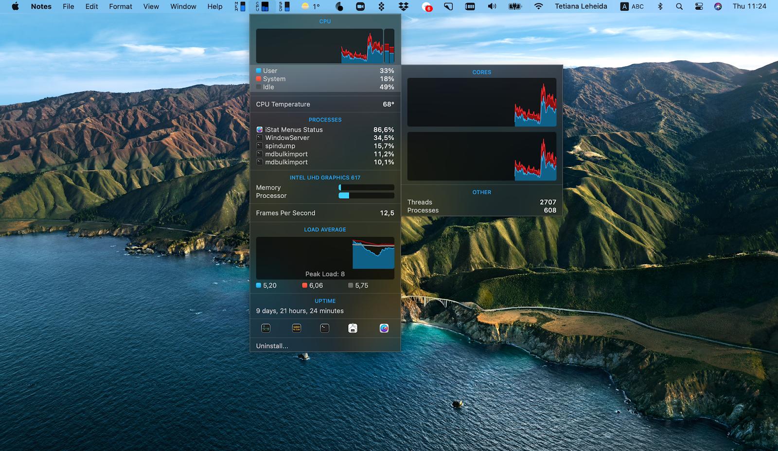 iStat Menus track performance Mac