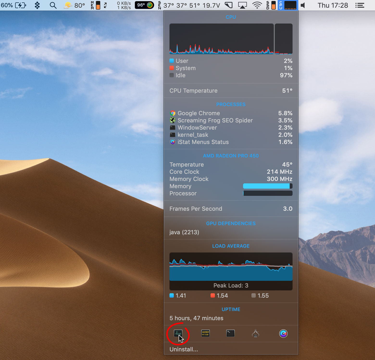 Open Activity Monitor from iStat Menus