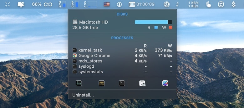 monitor Mac disk storage