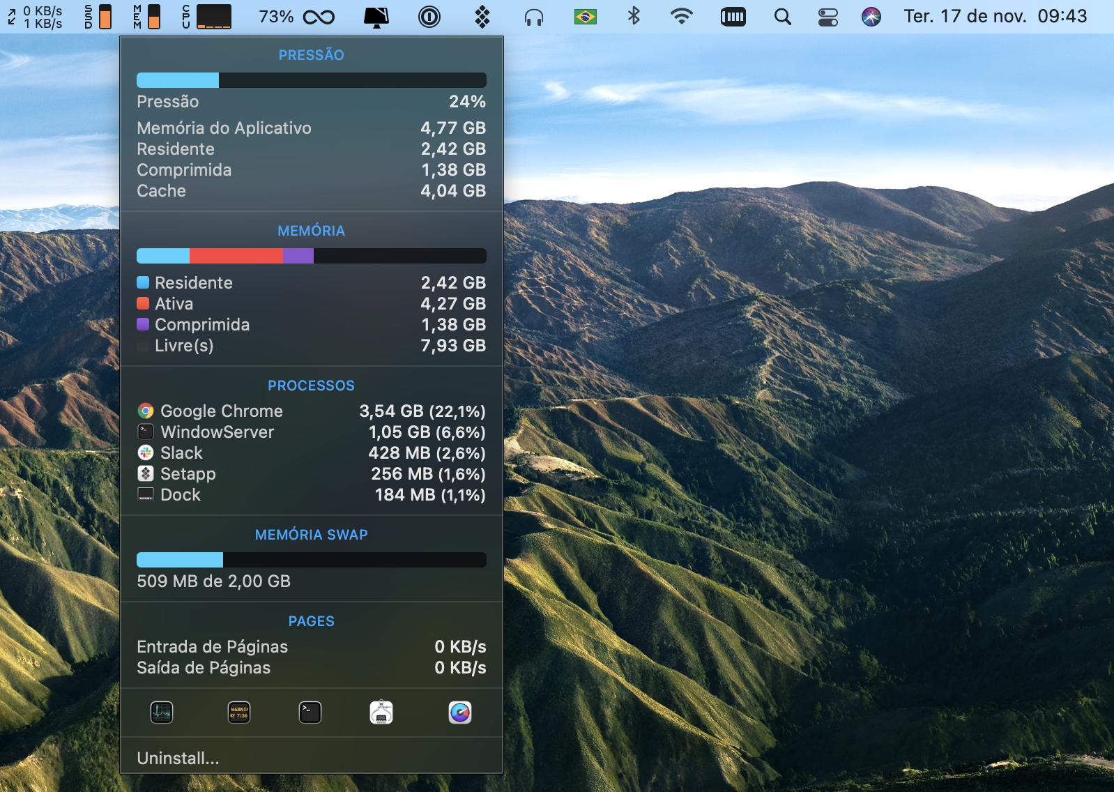 Monitoração de desempenho do Mac com o iStat Menus