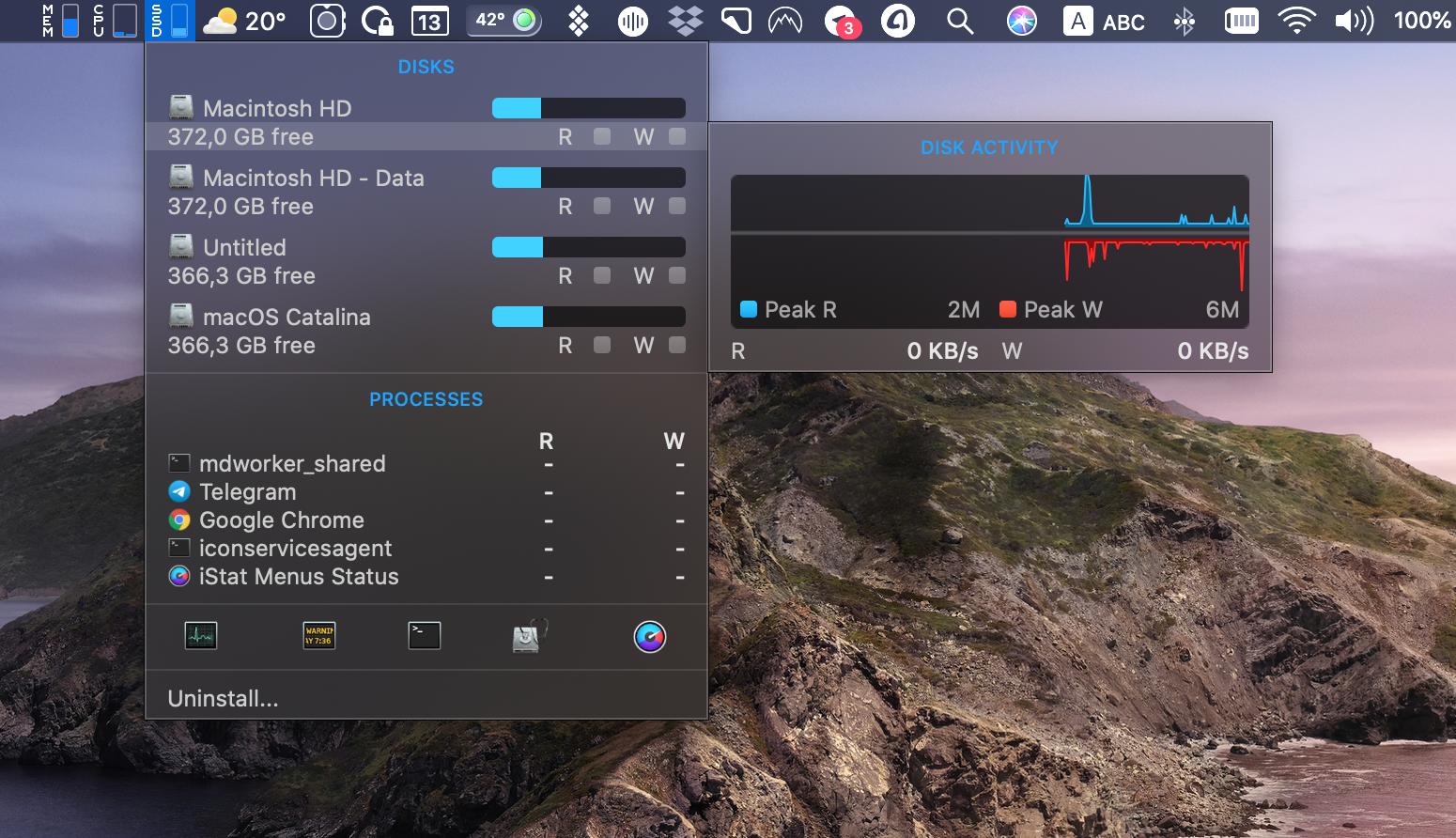 iStat Menus system performance monitoring