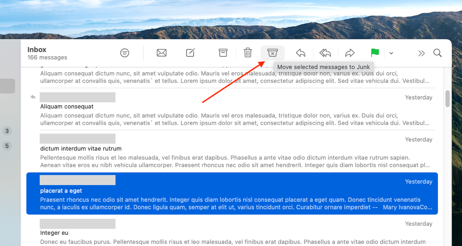move the spam message to the Junk folder