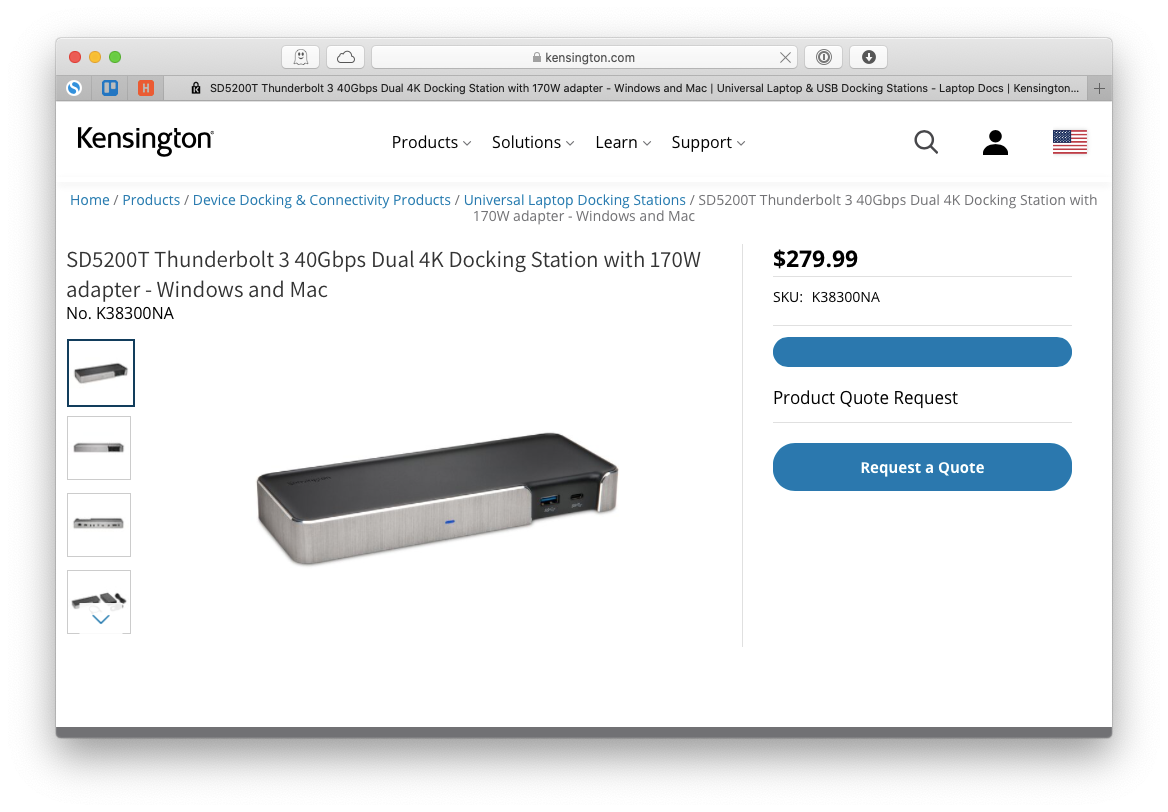 Kensington SD5200T Thunderbolt 3 dock Mac