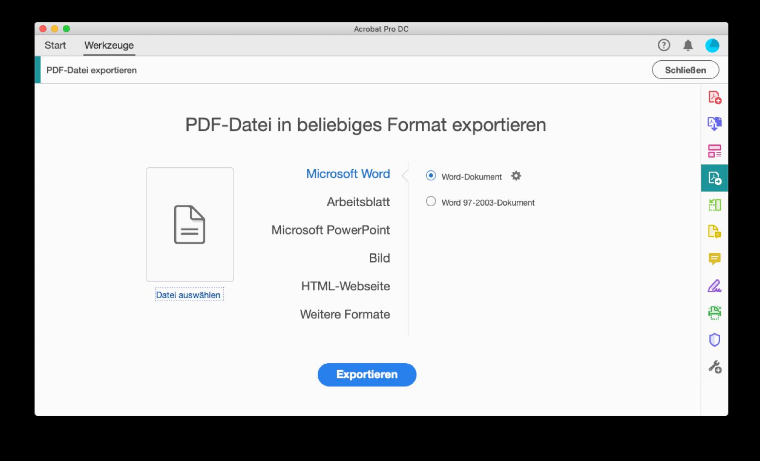 Mit Acrobat Pro PDFs in andere Formate konvertieren