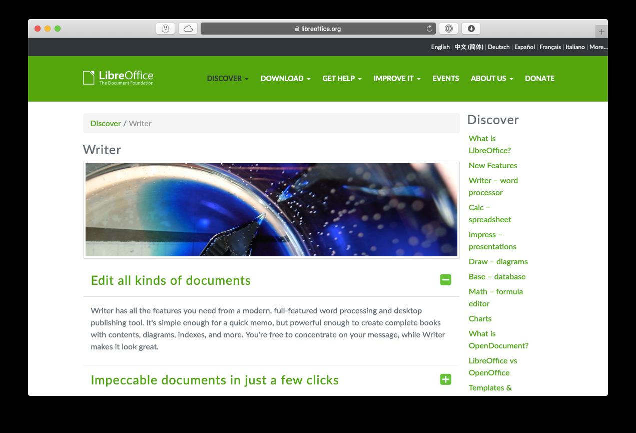LibreOffice writer text editing app Mac