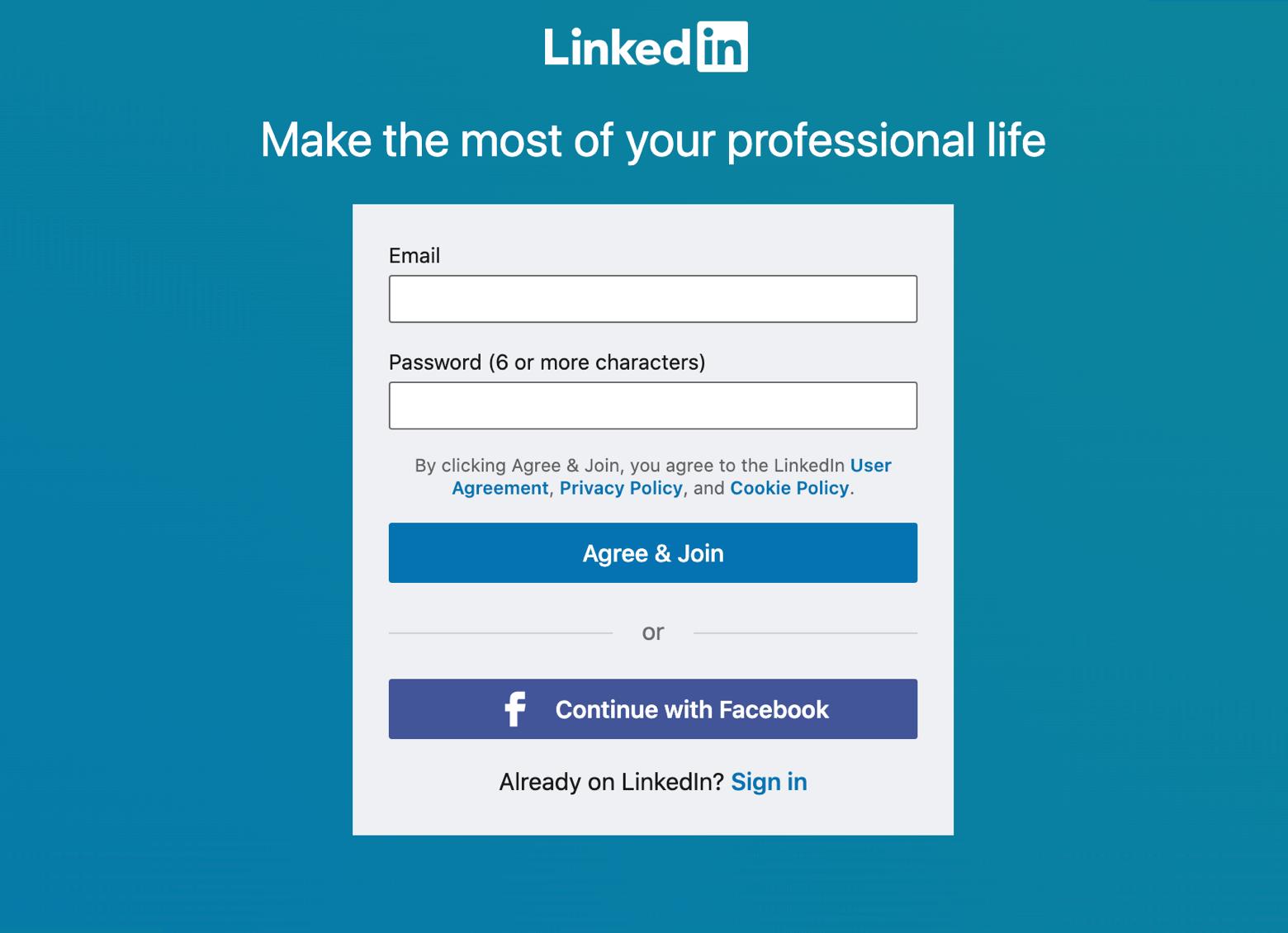 LinkedIn signup page