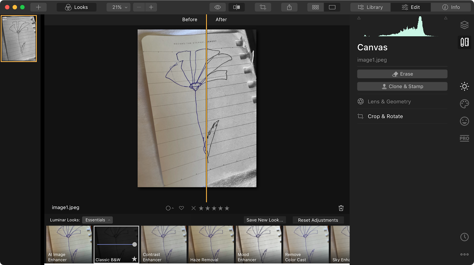 photo editing with Luminar
