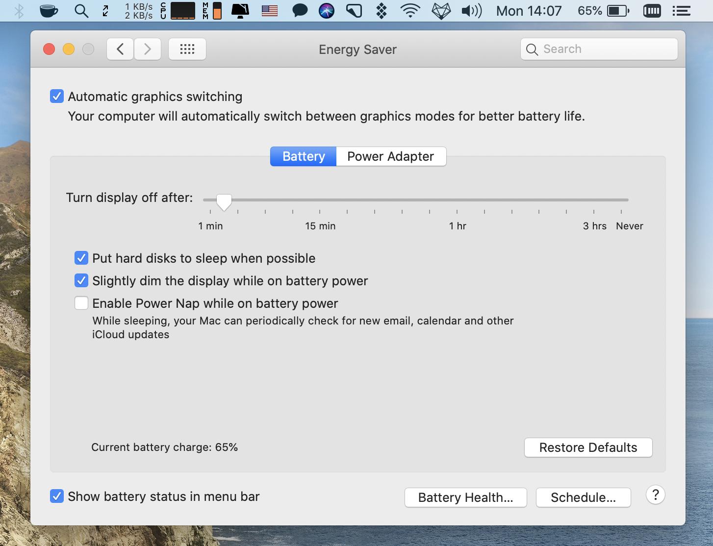 macOS Energy Saver
