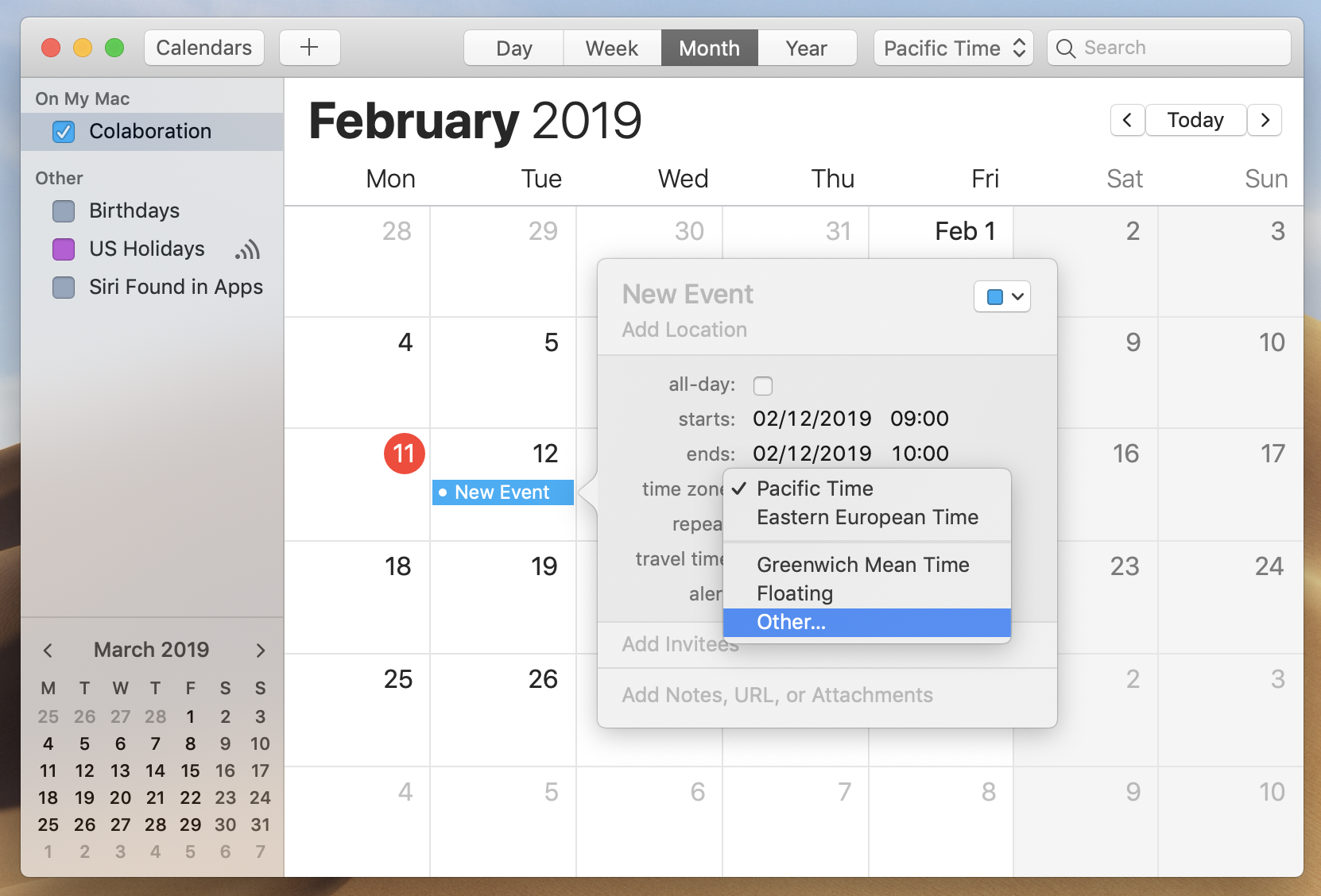 mac calendar new event other time zome