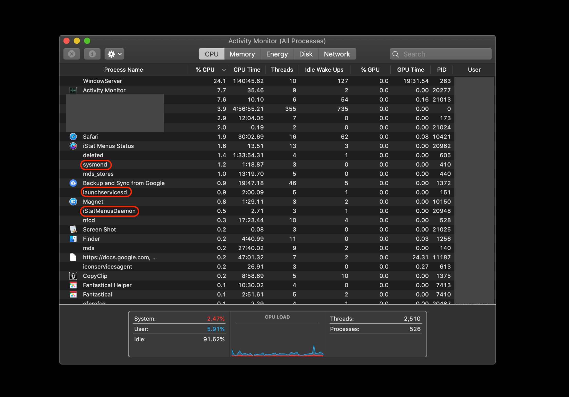 mac daemons monitor