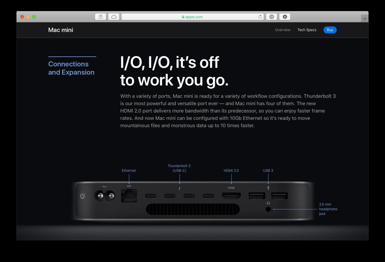 Mac mini ports new USB thunderbolt