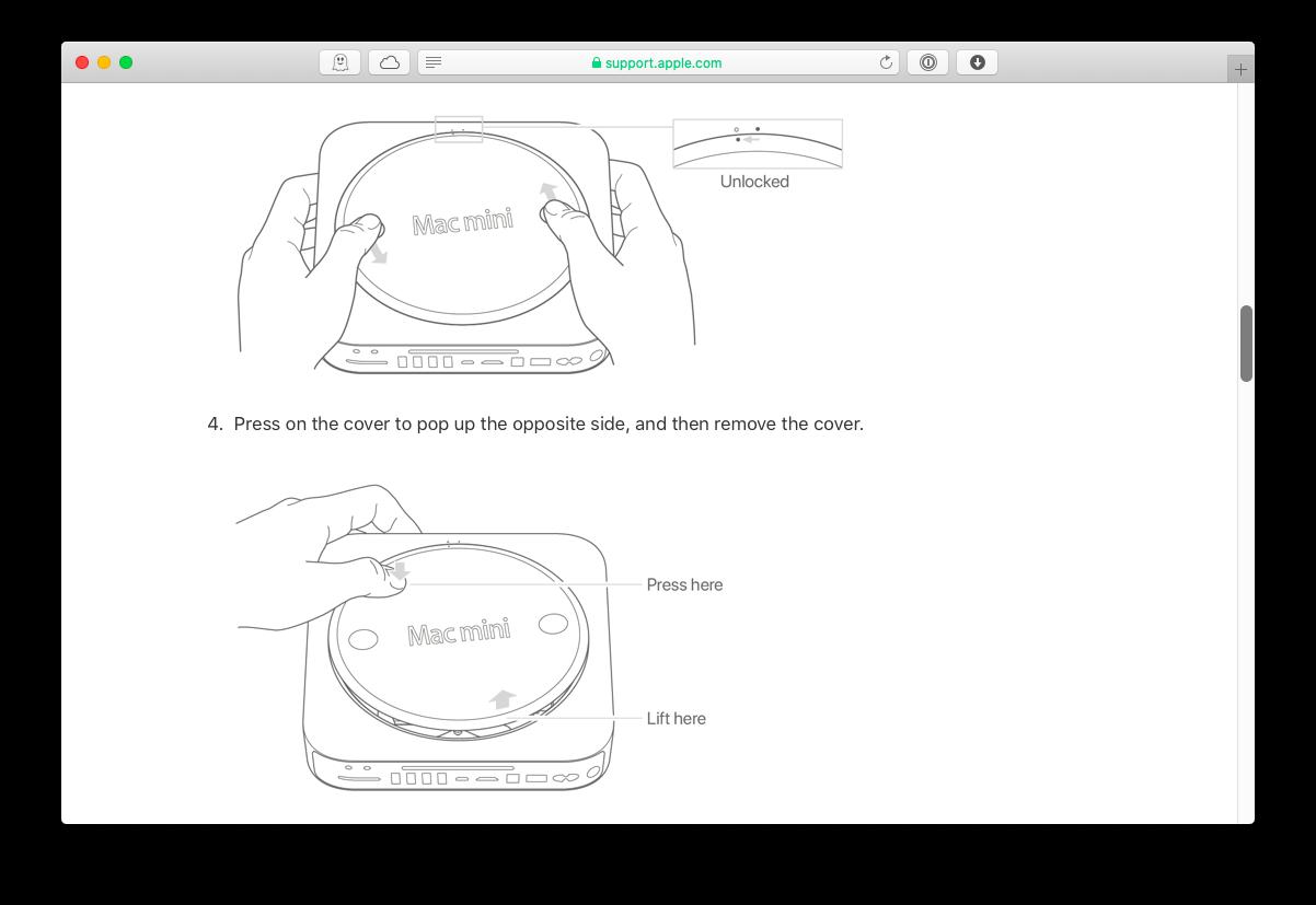 Upgrade RAM on a Mac mini   via Apple.com