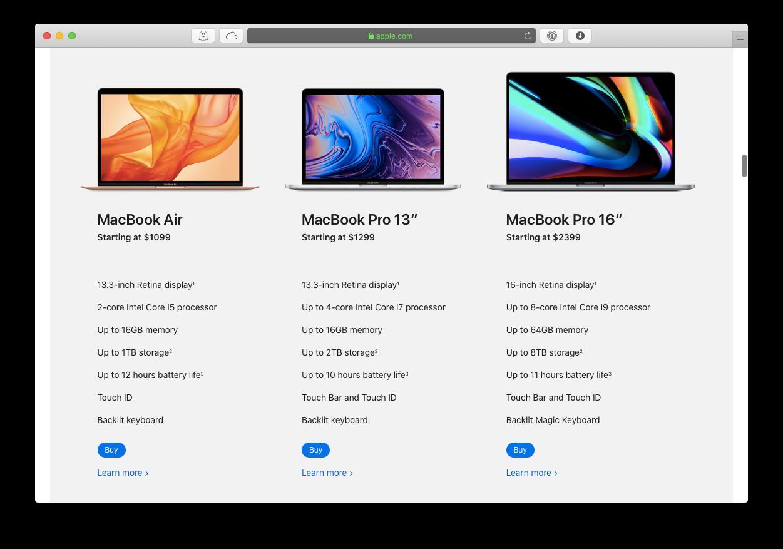 Mac selection Apple MacBook iMac